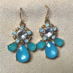 Blue Crystal Gemstone Dangle Gold Earrings